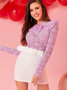 Ruffle   Sheer   Lace   Top