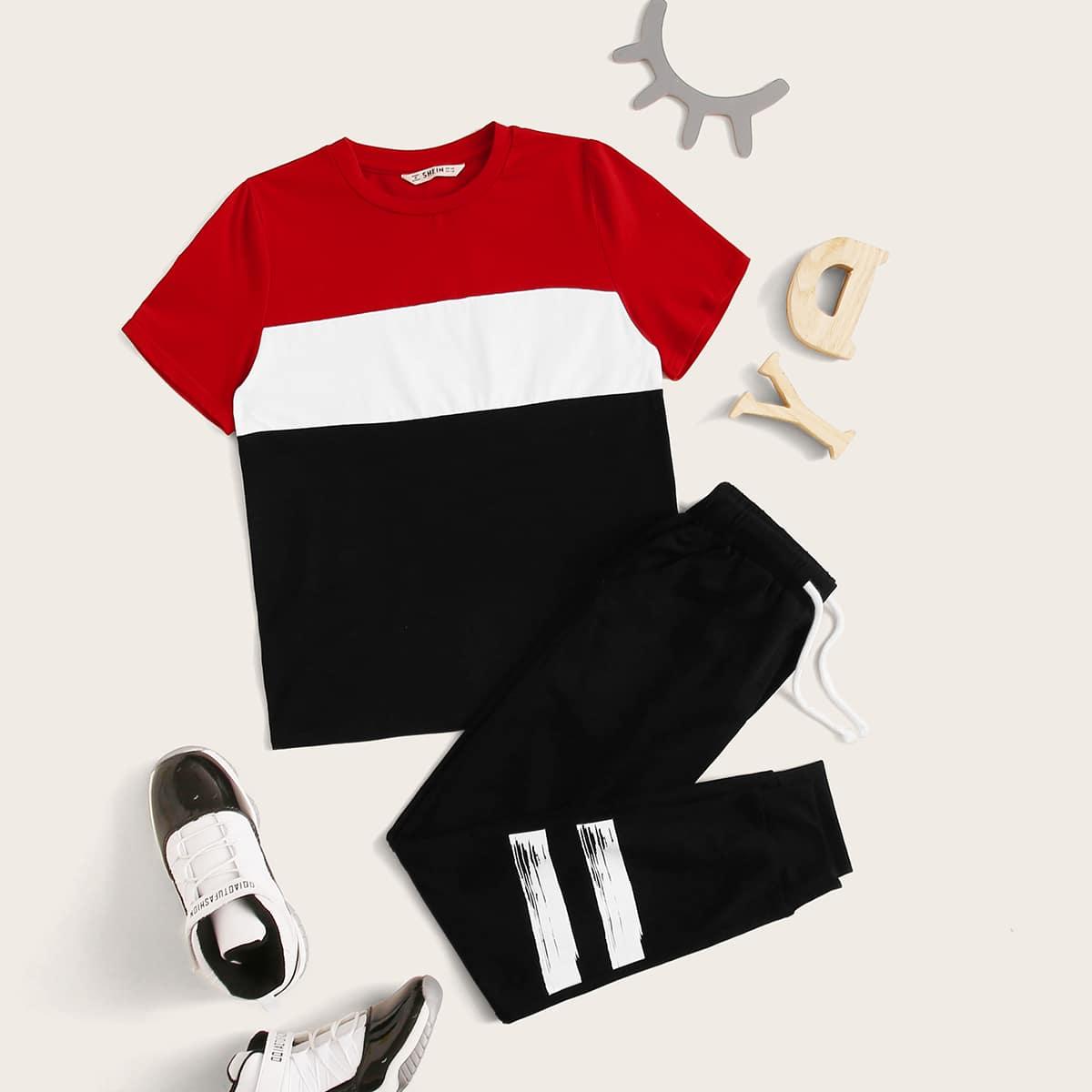Контрастная футболка и джоггеры на кулиске для мальчиков от SHEIN