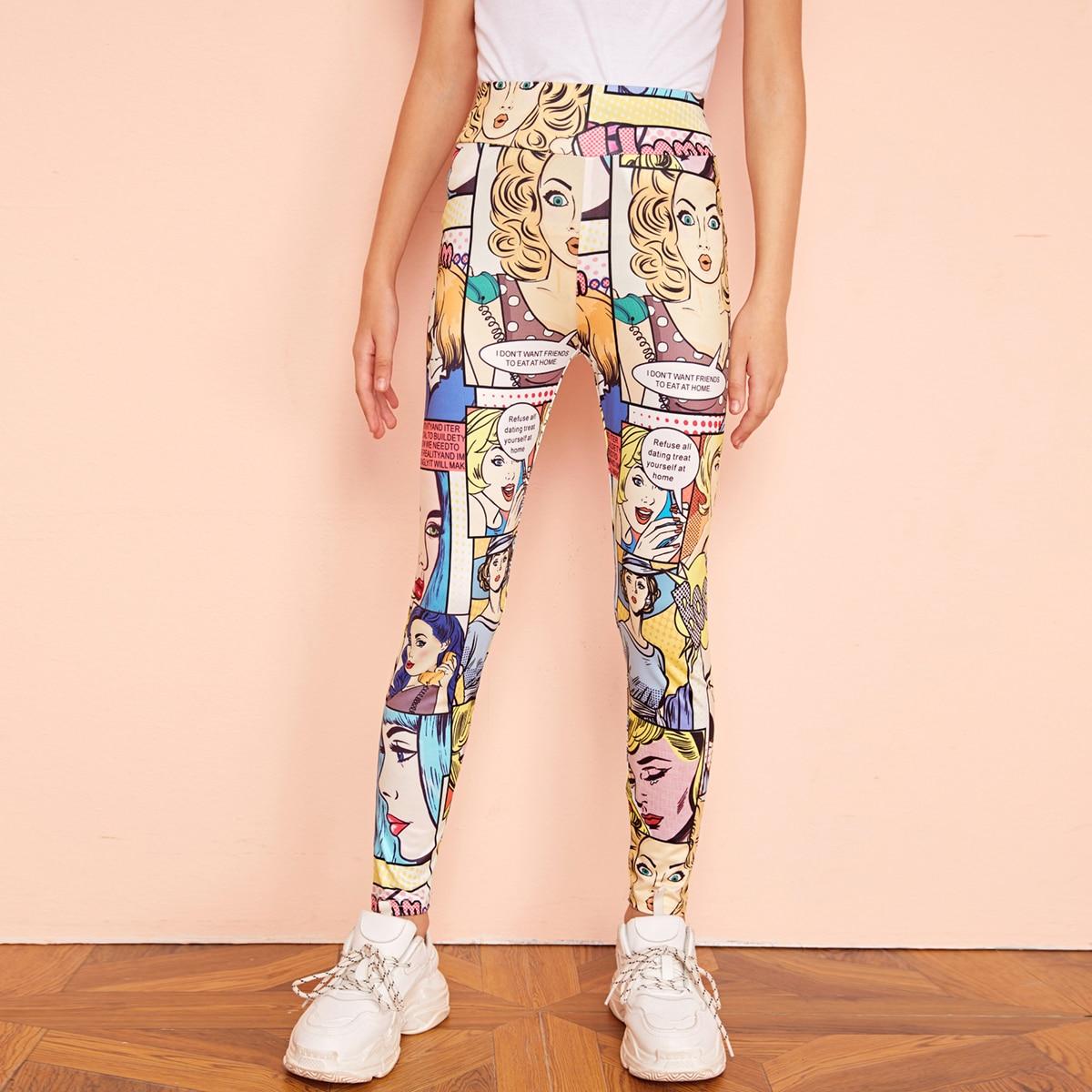 SHEIN / Mädchen Leggings mit überallem Muster und breitem Taillenband