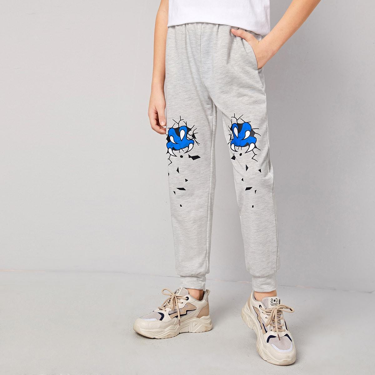 Спортивные брюки с мультяшным принтом и карманом для мальчиков от SHEIN