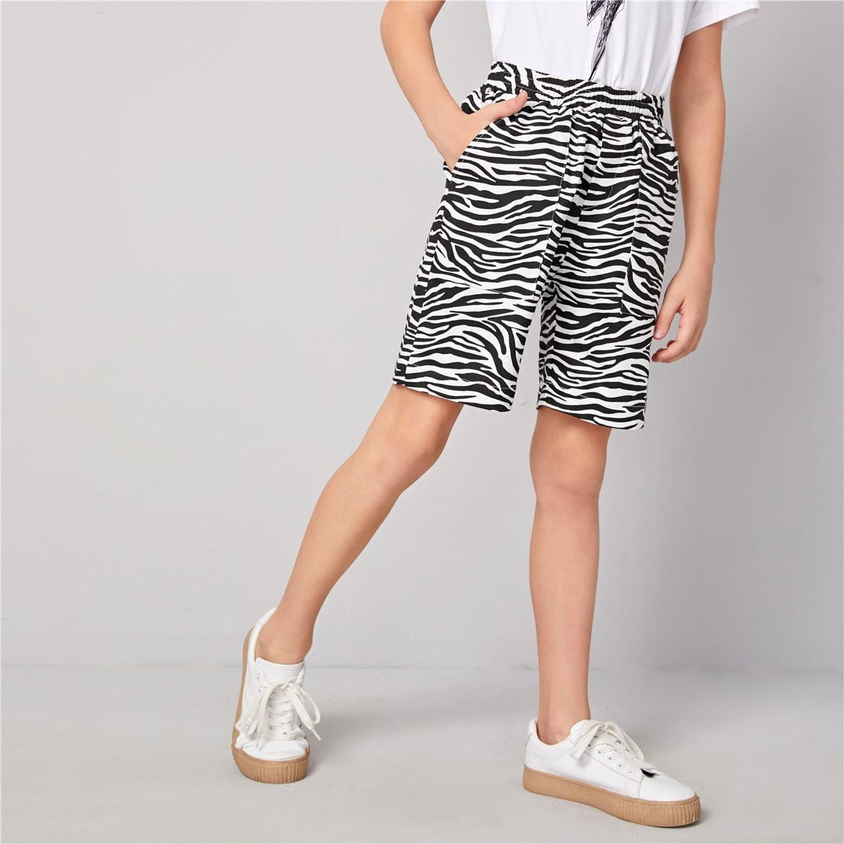 Зебровые полосатые шорты с карманом для мальчиков от SHEIN