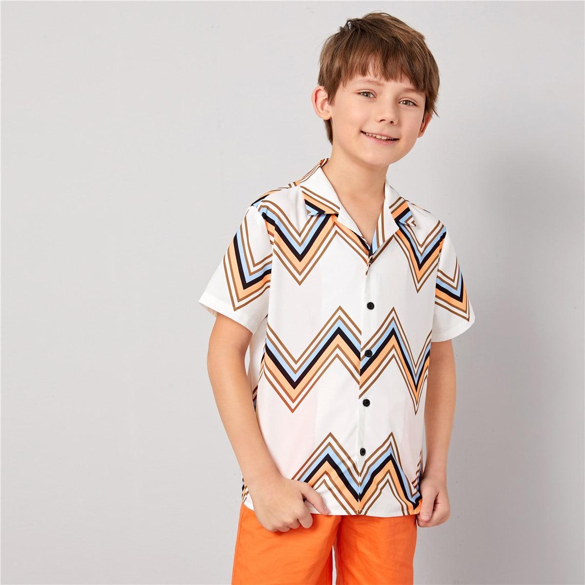 Рубашка с шевронным принтом и клиновидным вырезом для мальчиков от SHEIN