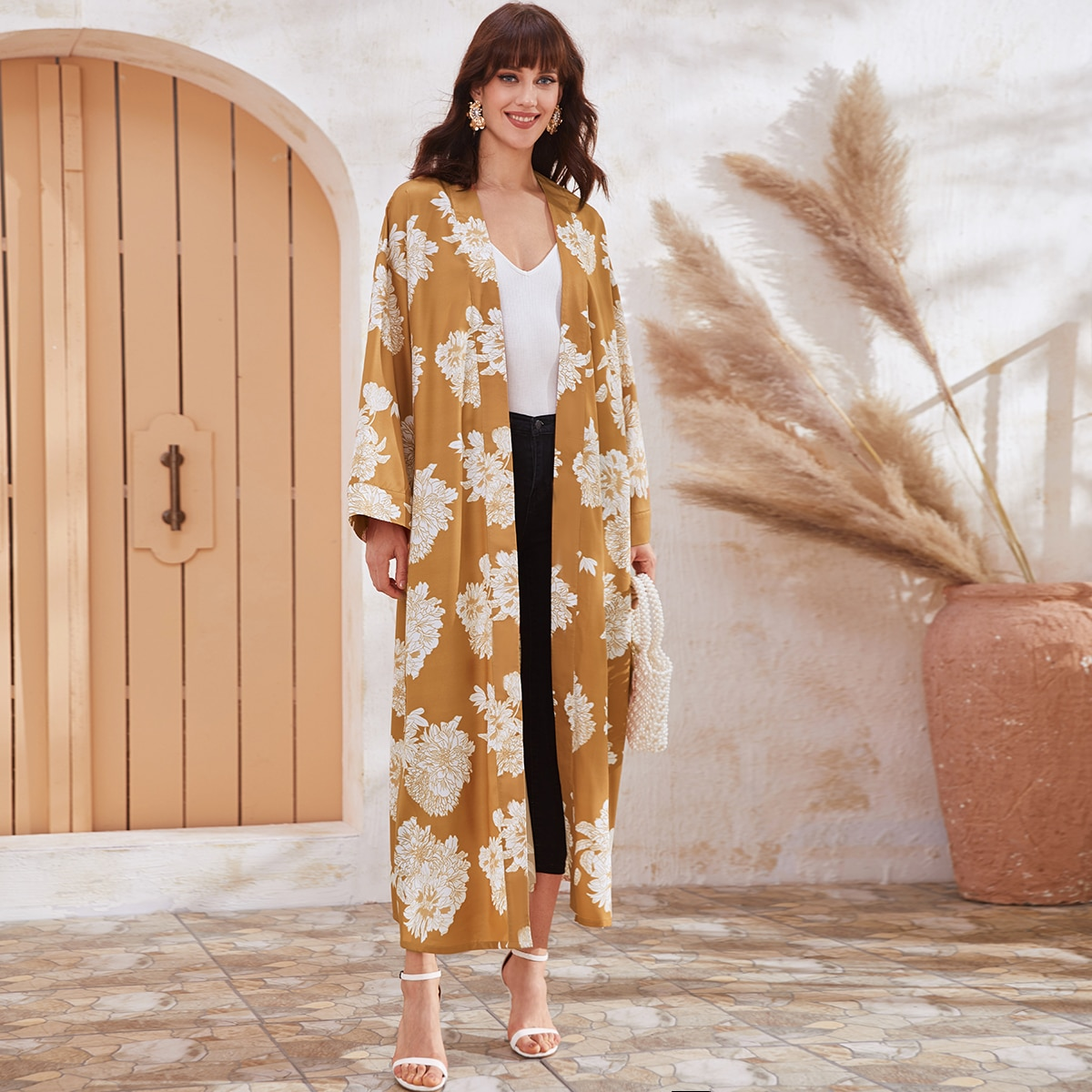 Geel Boho Bloemen Kimono Riem