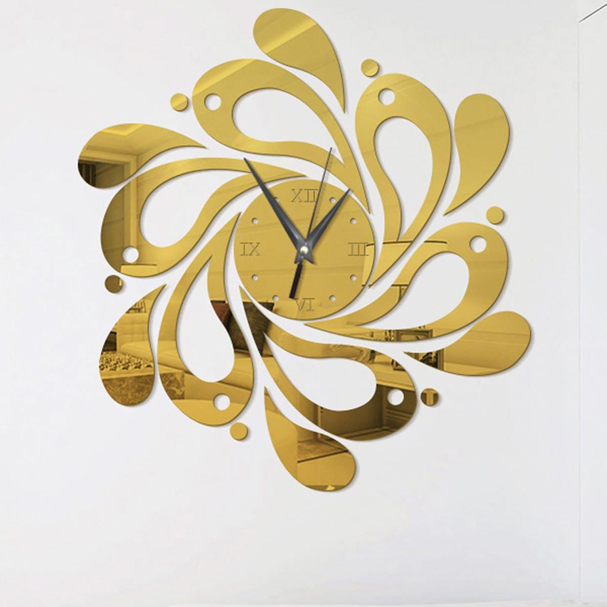 1pc Flower Design spiegeloppervlak wandklok