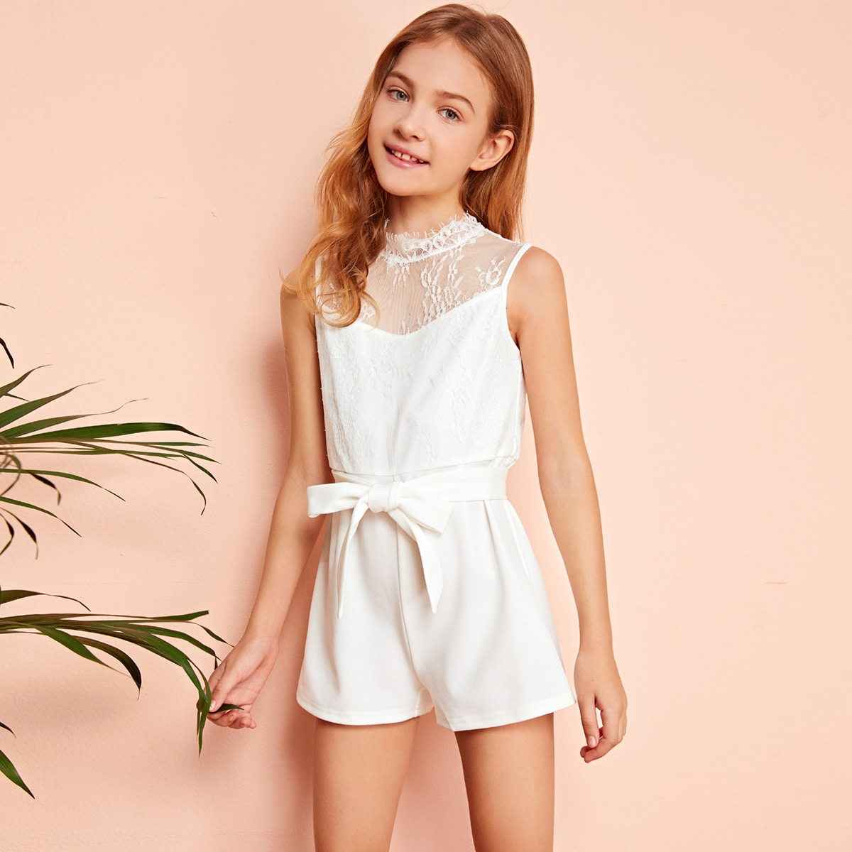 SHEIN / Girls Mock-Neck Lace Bodice Self Belted Romper