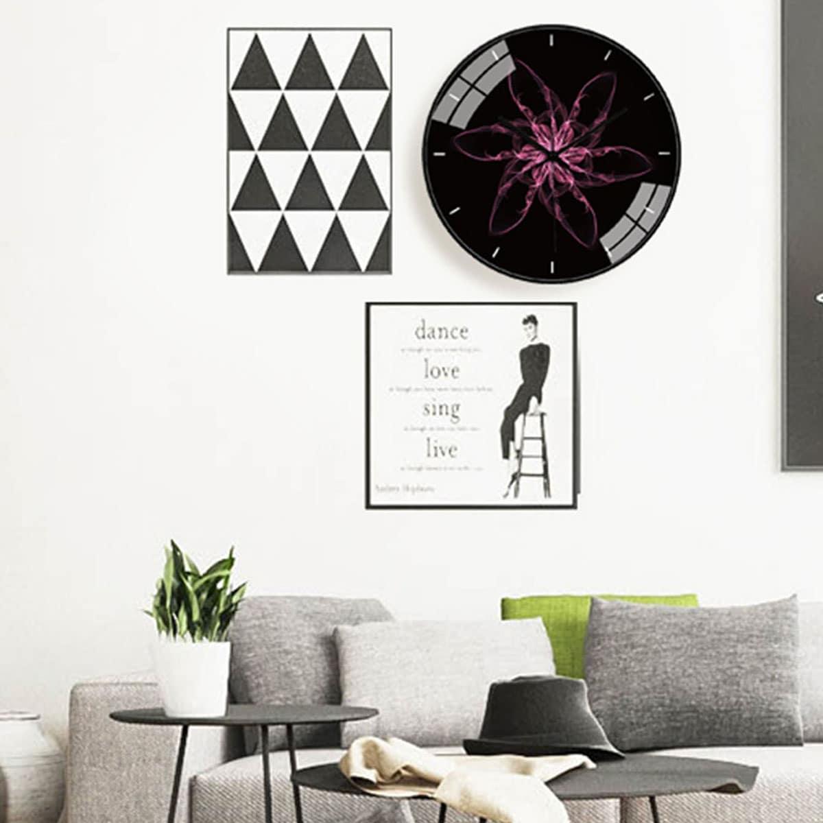 1pc abstracte bloemenprint wandklok