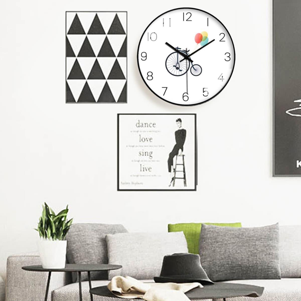 1pc fiets print wandklok