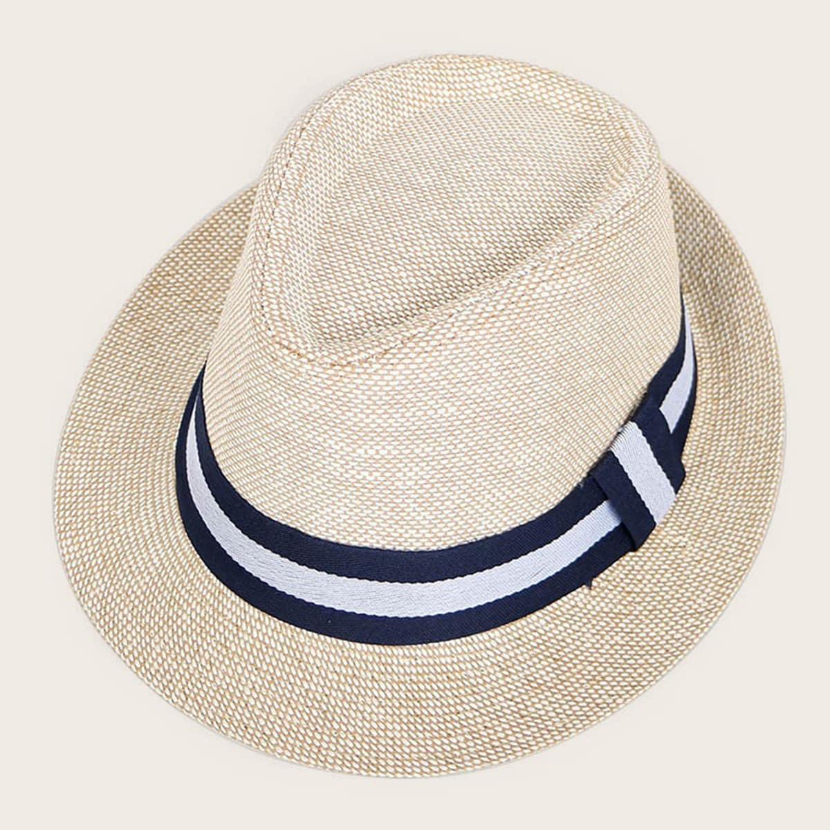 Мужская соломенная шапка с полосками от SHEIN