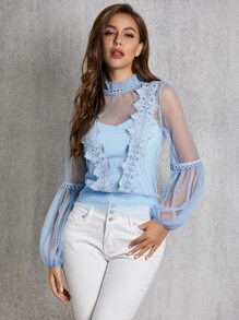 Camisole | Mesh | Neck | Lace | Top