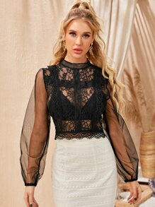 Sleeve   Mesh   Back   Lace   Top