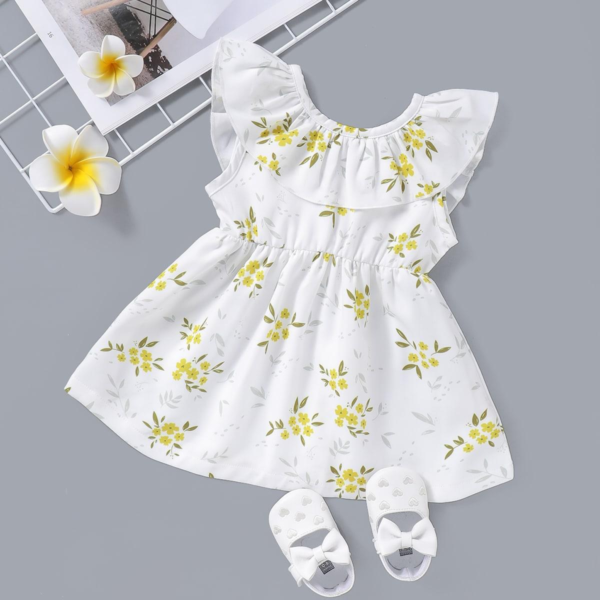 Платье с цветочным принтом и оборками для девочек от SHEIN