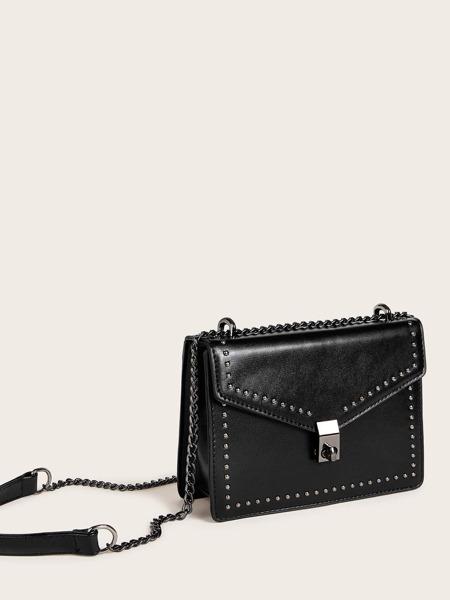 Studded Decor Flap Crossbody Bag