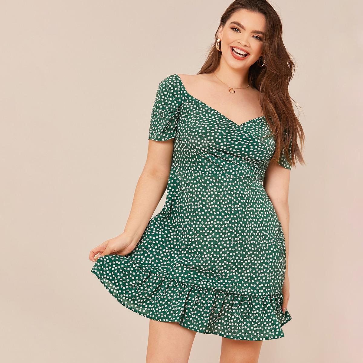 Цветочное платье размера плюс с молнией и оборками