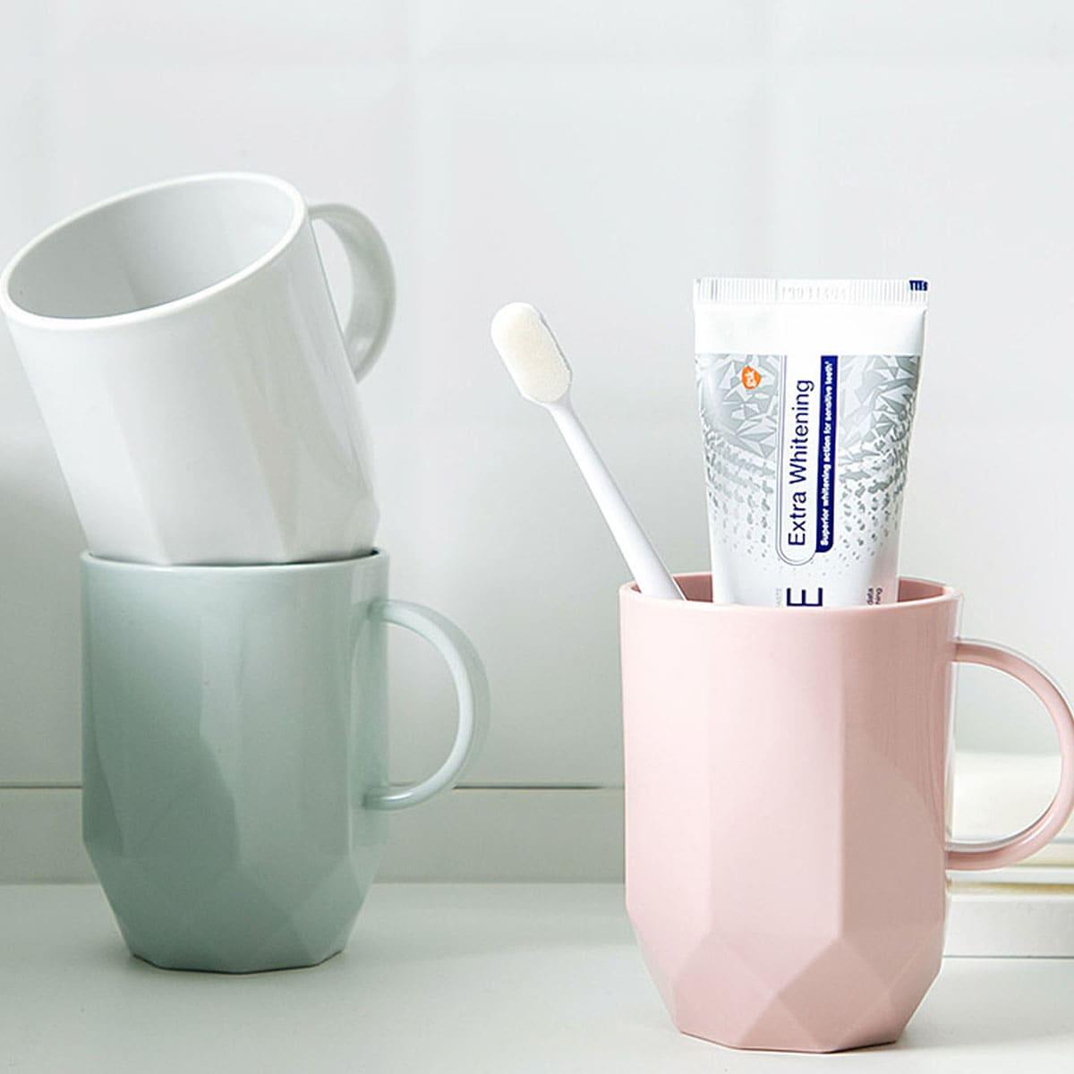 1pc massief plastic tandenborstelbeker met handvat