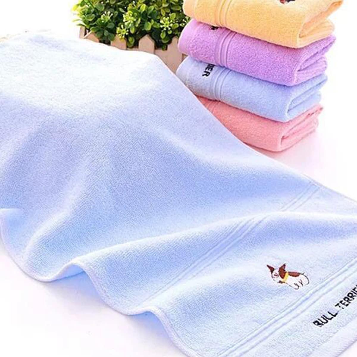 1pc cartoon hond en brief geborduurde handdoek