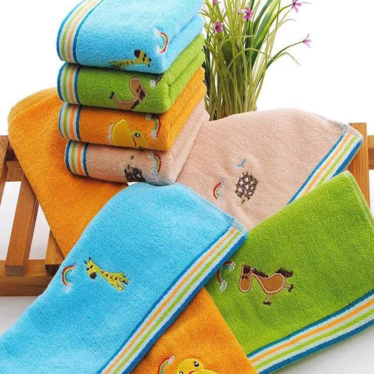 1 st Cartoon Animal & Rainbow geborduurde handdoek