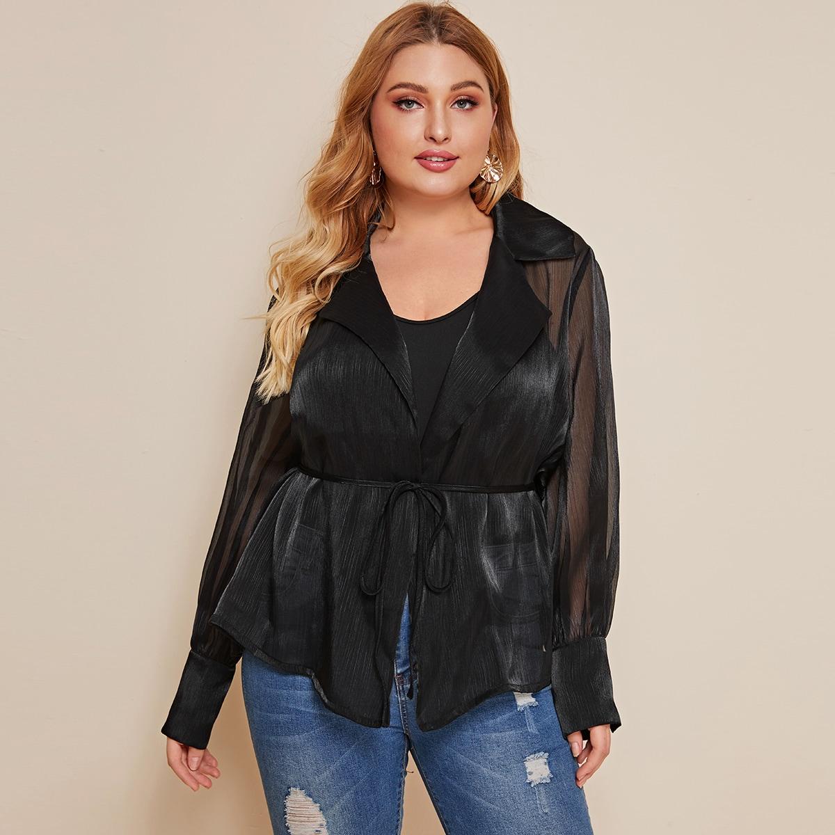 Полупрозрачная блуза размера плюс с поясом без майки фото
