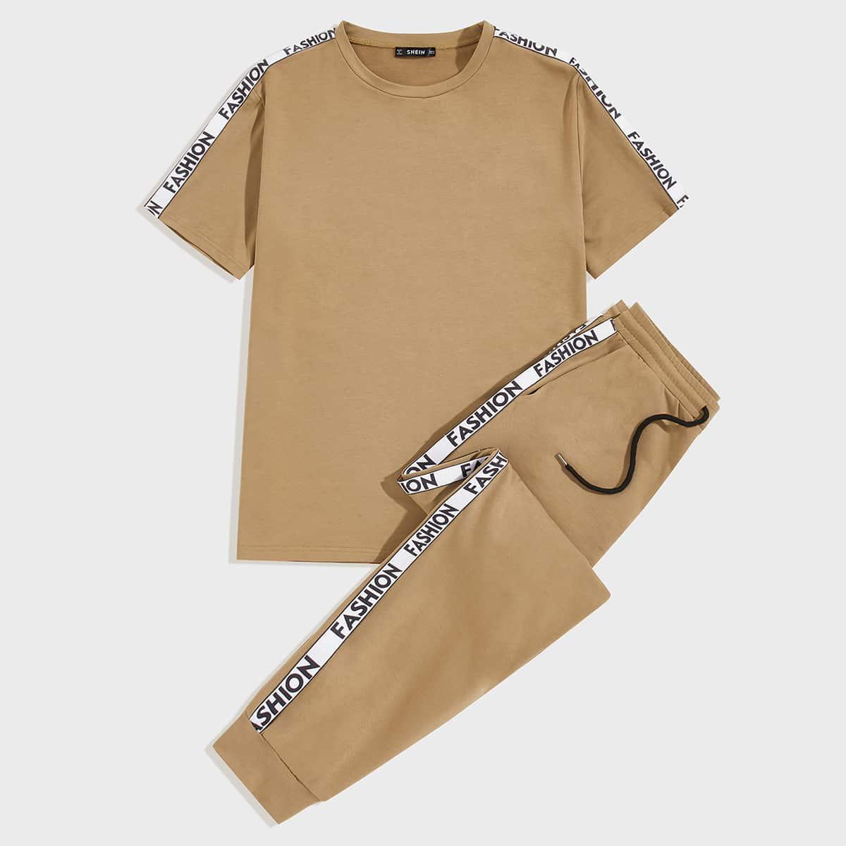 Мужская футболка с текстовой лентой и джоггеры на кулиске от SHEIN