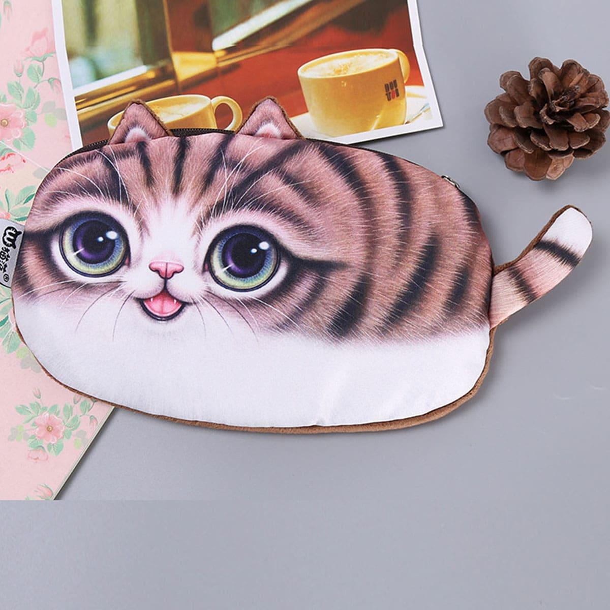 1pc Willekeurig Cat vormige potlood tas