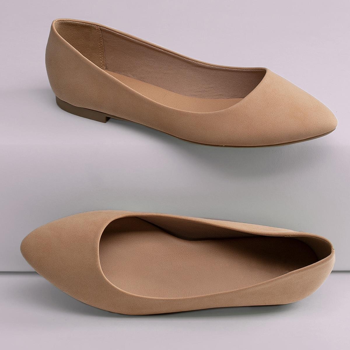 SHEIN / Wide Width Pointy Toe Slip On Ballerina Flats
