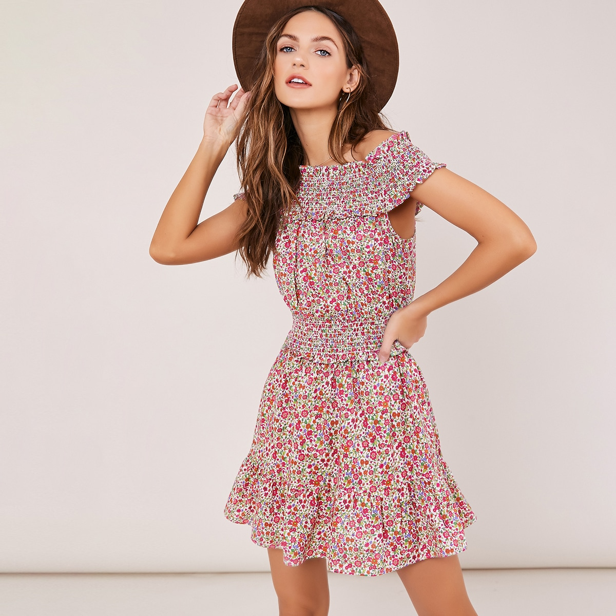 SHEIN / Smocked Off Shoulder Floral Mini Dress