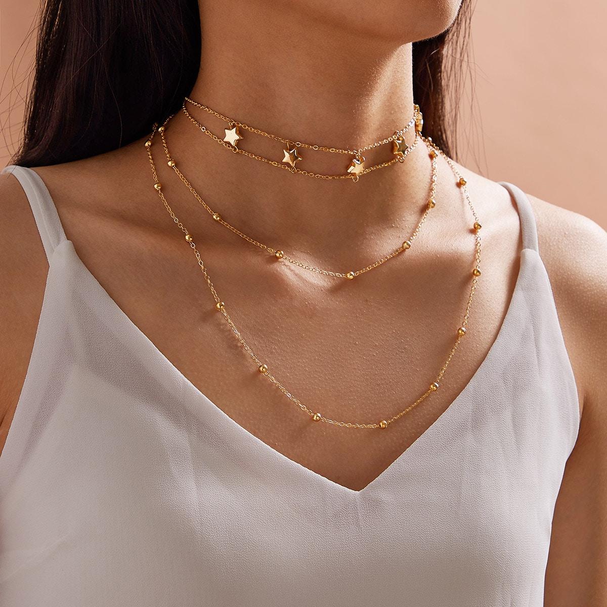 SHEIN / Mehrschichtige Halskette mit Stern & Perlen Anhänger 1 Stück