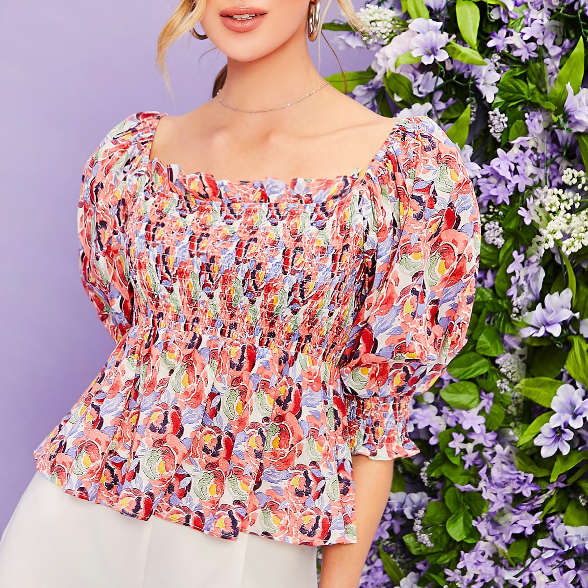 SHEIN / Square Neck Ruffle Trim Floral Print Shirred Peplum Top