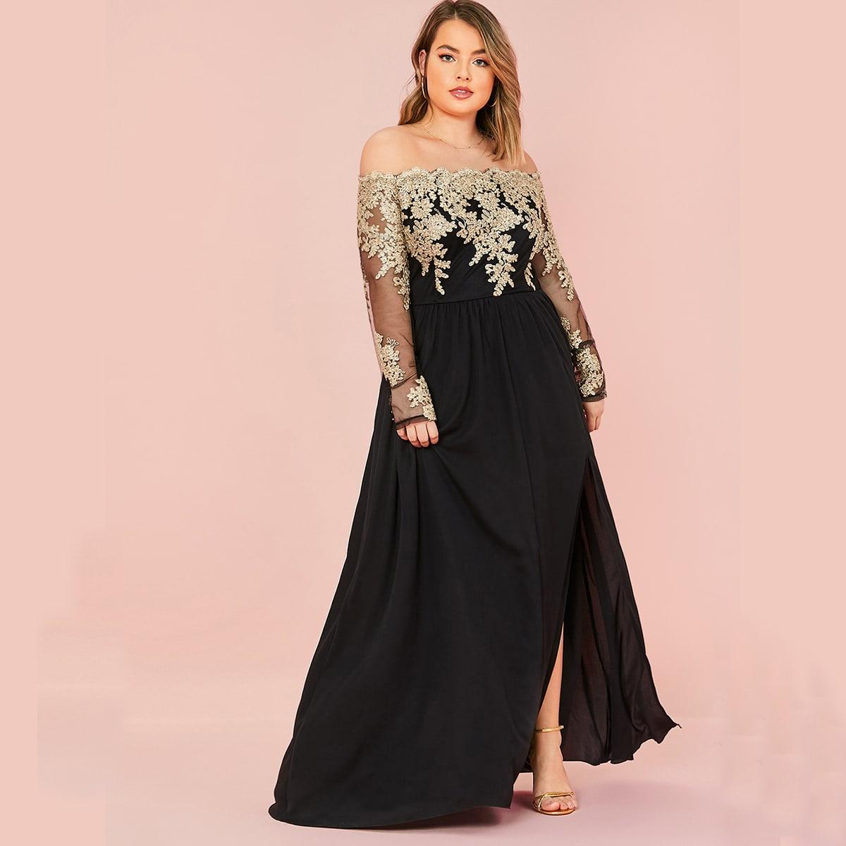 SHEIN / Große Größen - Schulterfreies Kleid mit Stickereien, Netzstoff und Schlitz am Saum