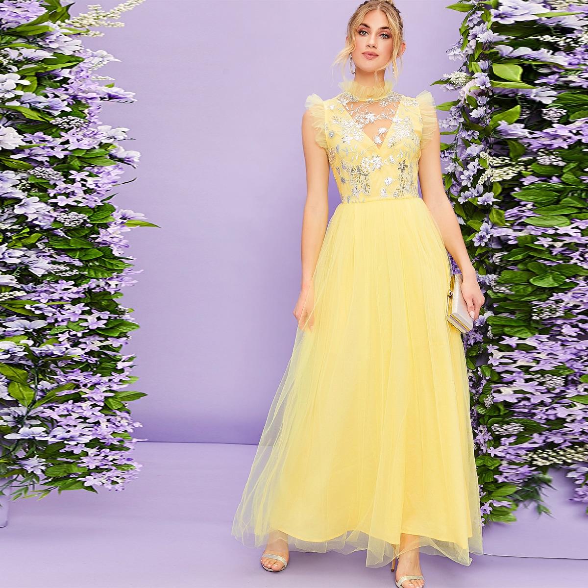 SHEIN / Mock-Neck Ruffle Trim Sequin Embroidery Mesh Dress