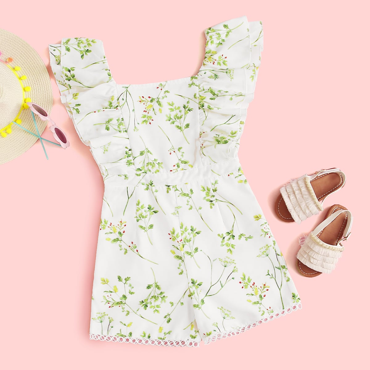 SHEIN / Girls Ruffle Trim Plants Print Romper
