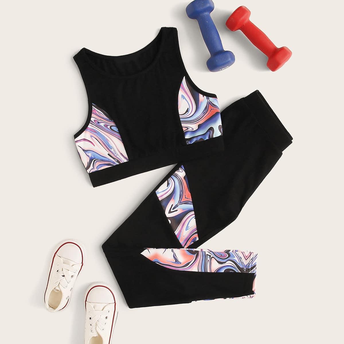 SHEIN / Girls Colorblock Tank Top and Leggings Set