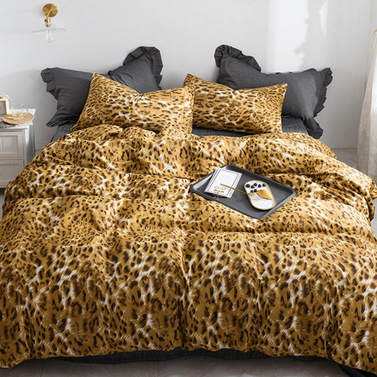 Beddengoedset met luipaardprint zonder vuller