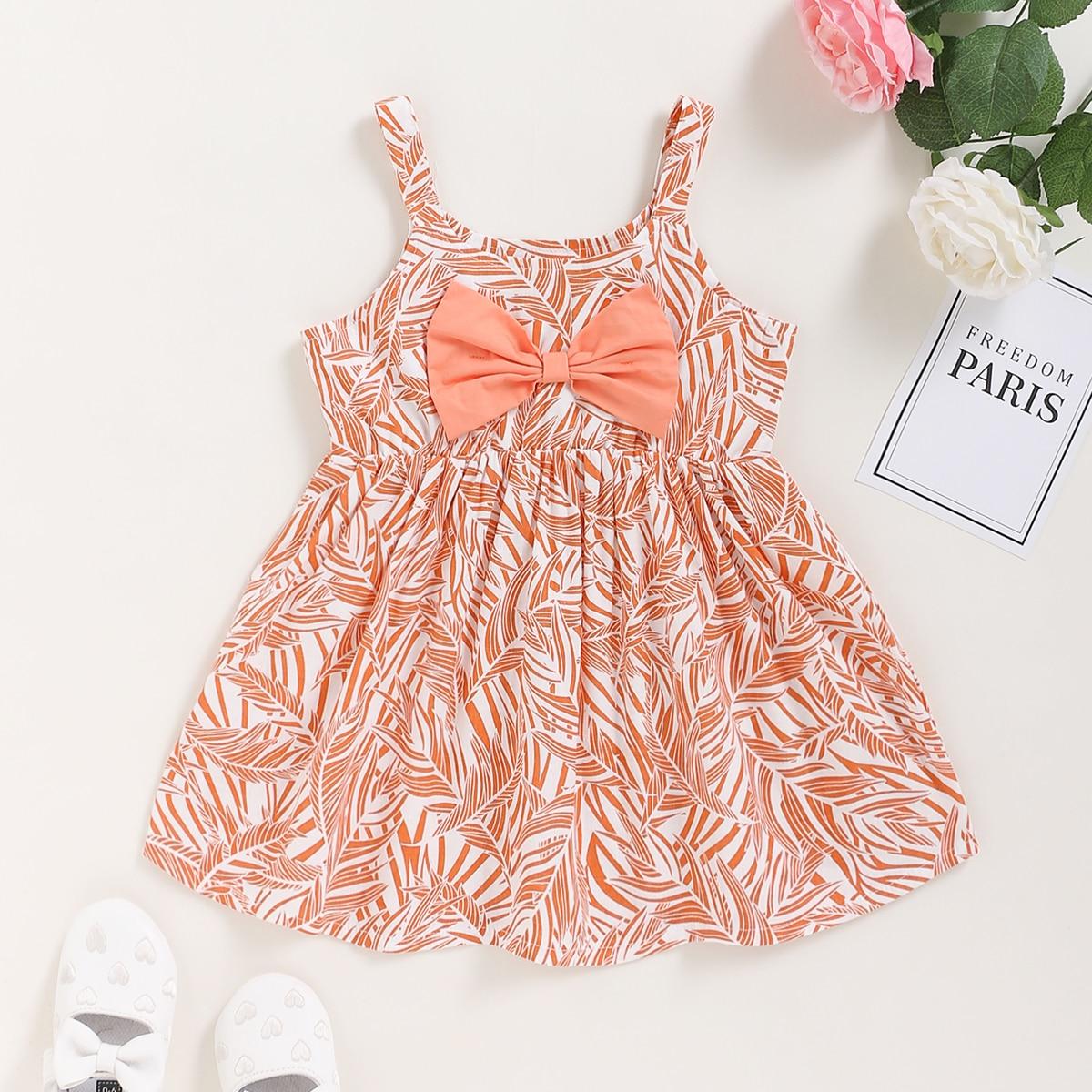Платье с лиственным принтом и бантом для девочек от SHEIN