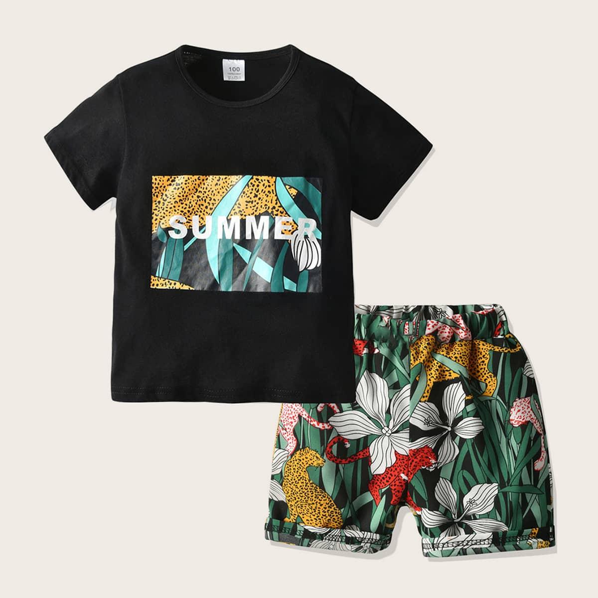 Шорты и футболка с текстовым, тропическим принтом для мальчиков от SHEIN