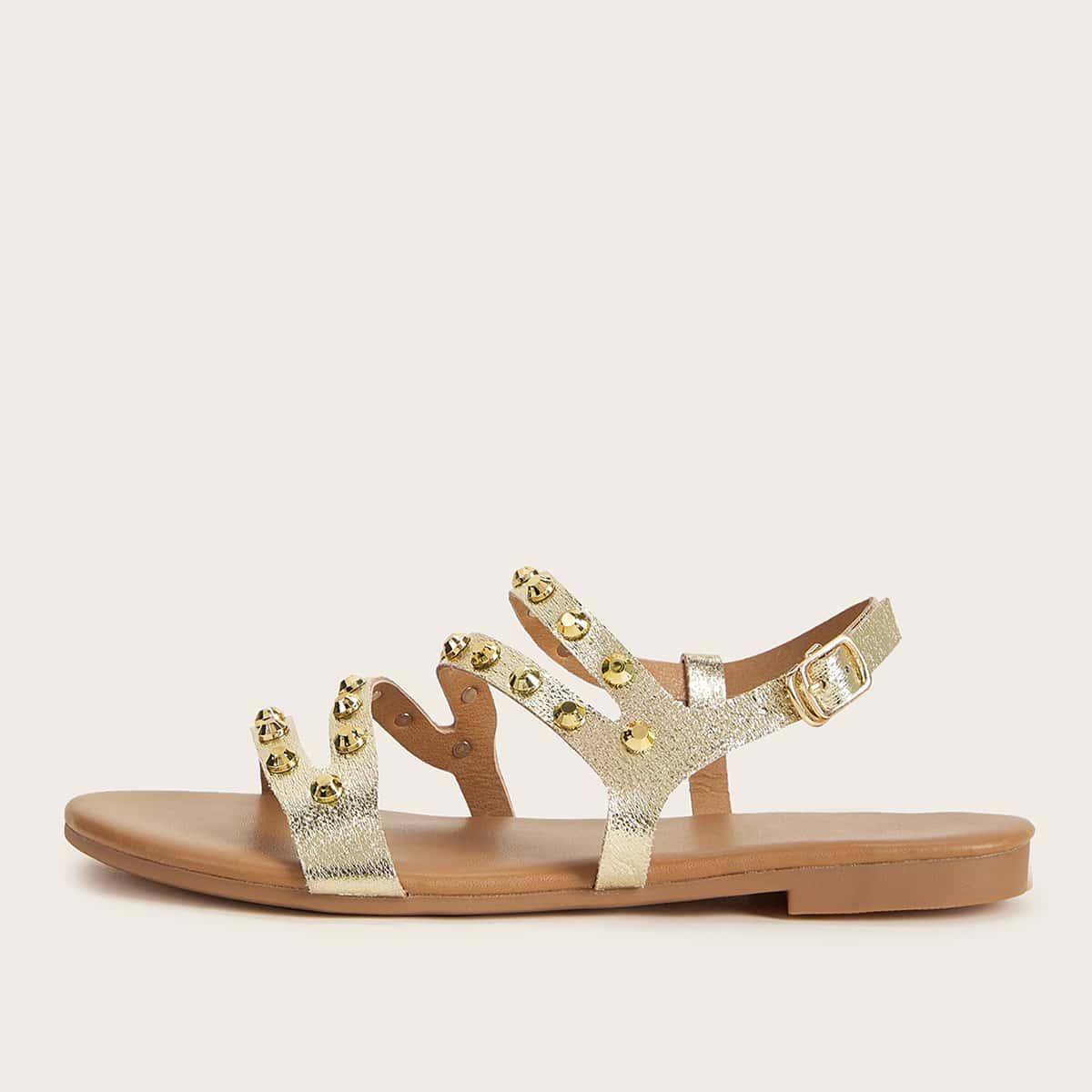 Platte metalen sandalen met bezaaid decor