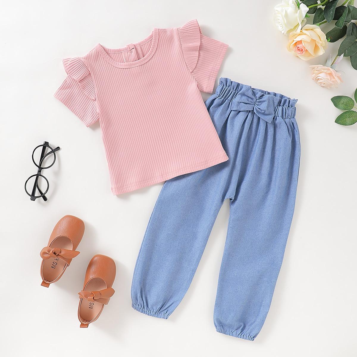 Вязаная футболка и брюки с присборенной талией для девочек от SHEIN