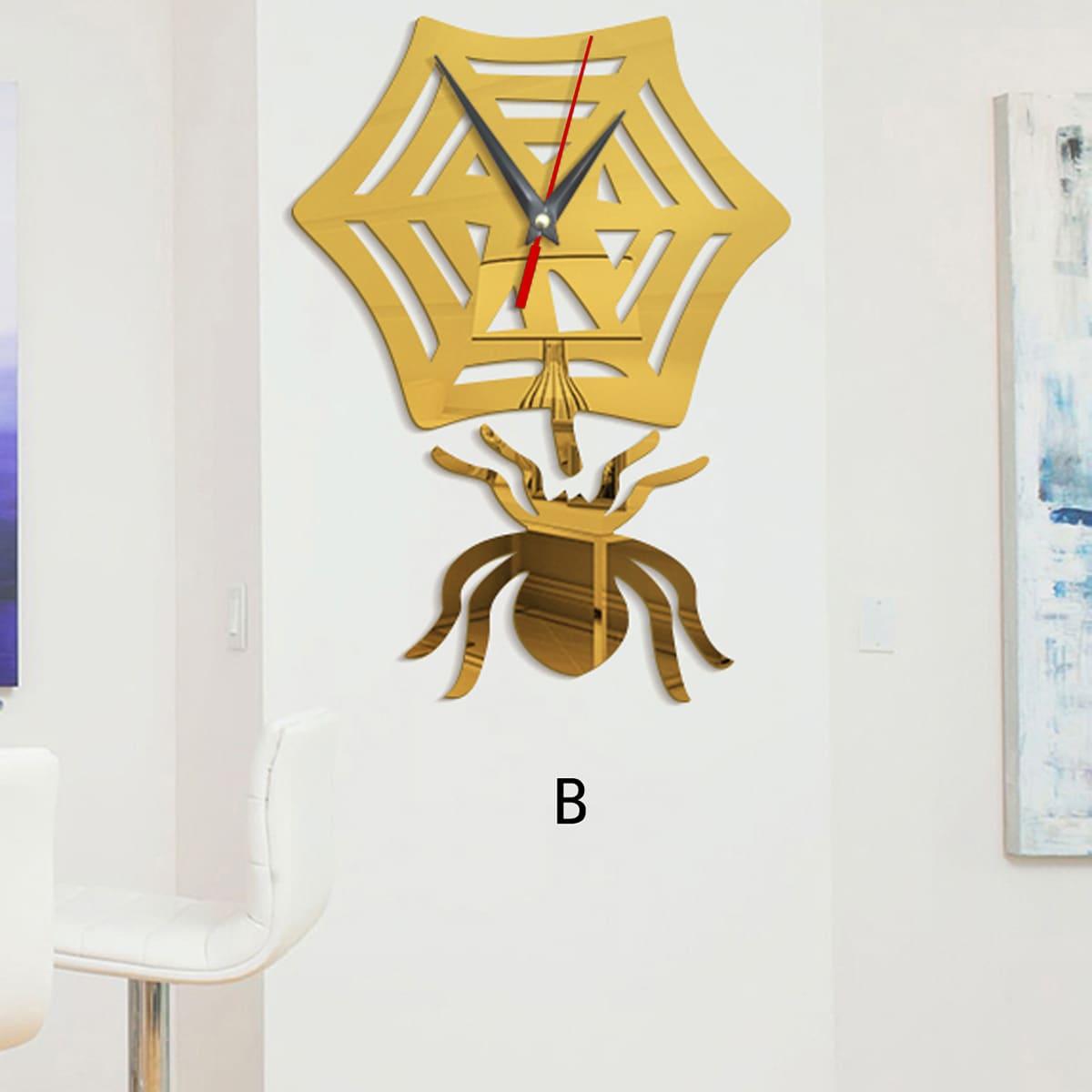 1pc Spider vormige spiegeloppervlak wandklok