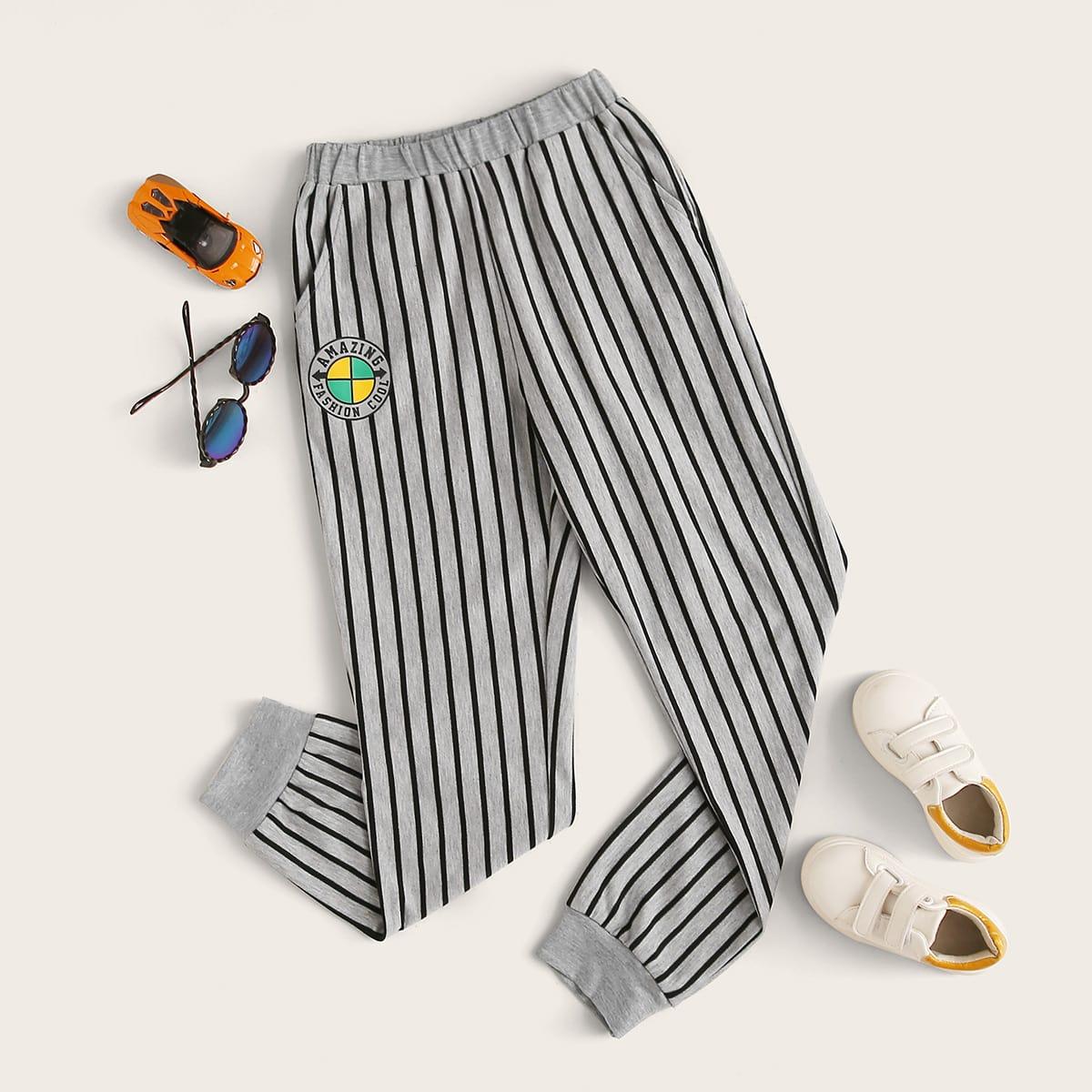 Полосатые джоггеры с карманом для мальчиков от SHEIN
