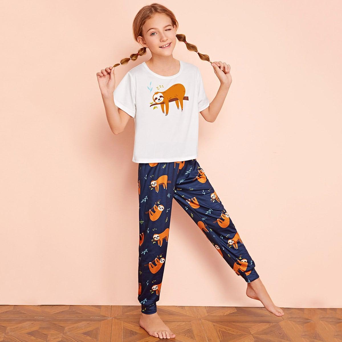 Пижама с принтом для девочек от SHEIN