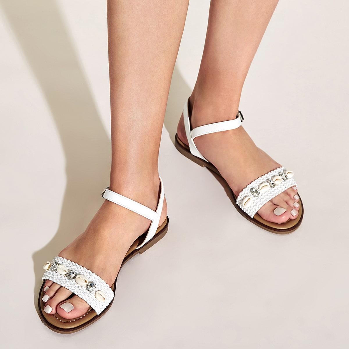 Slingback sandalen met decor van Shell