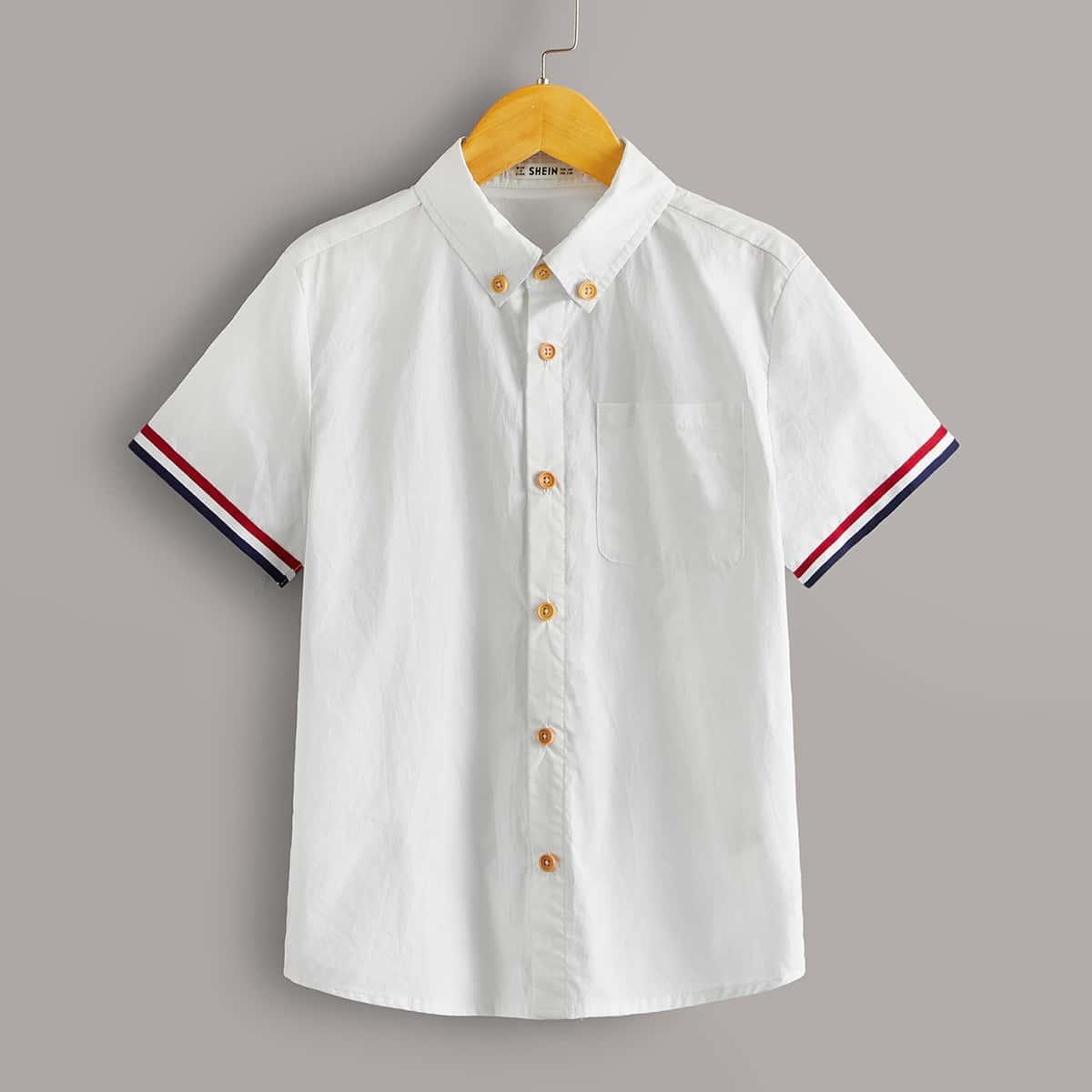 Рубашка с карманом и полосками для мальчиков от SHEIN