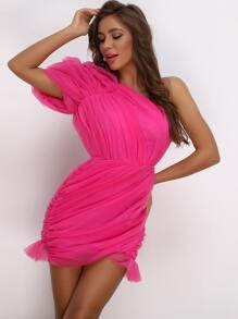 Shoulder   Ruched   Dress   Neon   Pink   Mesh   One