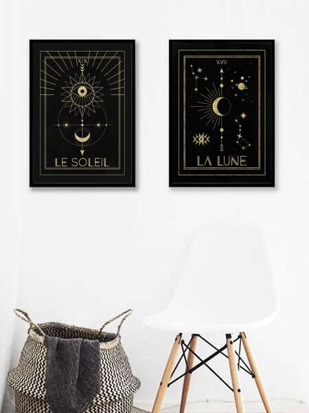 1pc Moon & Star Print Wall Painting Without Frame