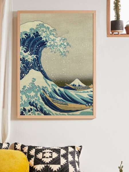 Wave Print Wall Painting Without Frame