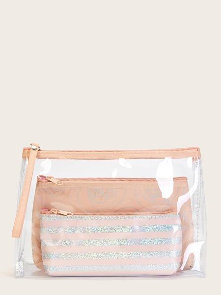 3pcs Striped & Floral Pattern Makeup Bag