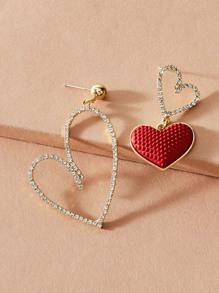 Rhinestone | Engrave | Earring | Heart | Decor