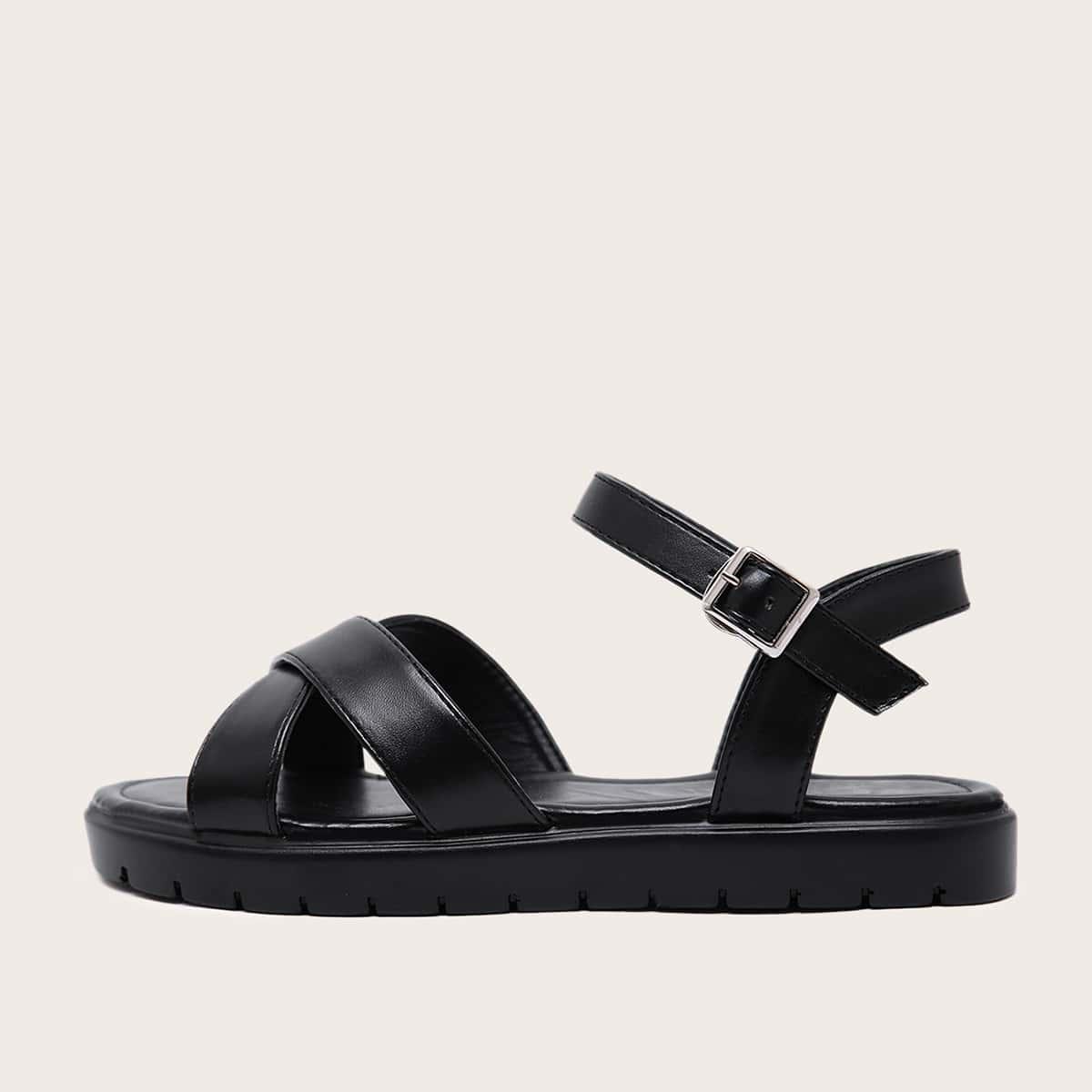Sandalen met enkelbandje met kruisband