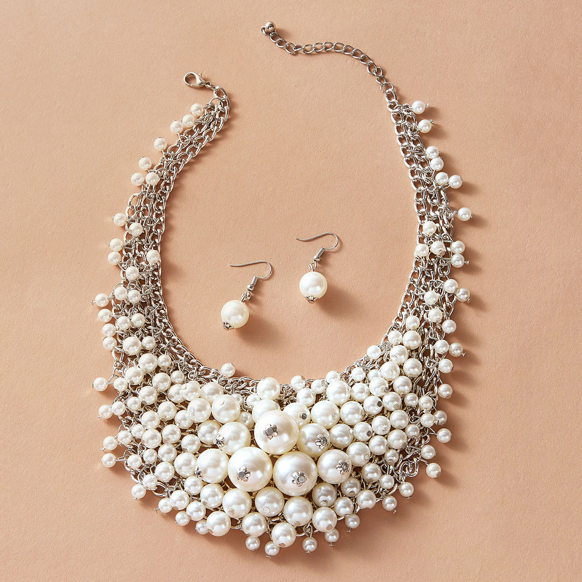 SHEIN / 1pc Pearl Decor Statement Necklace & 1pair Earrings