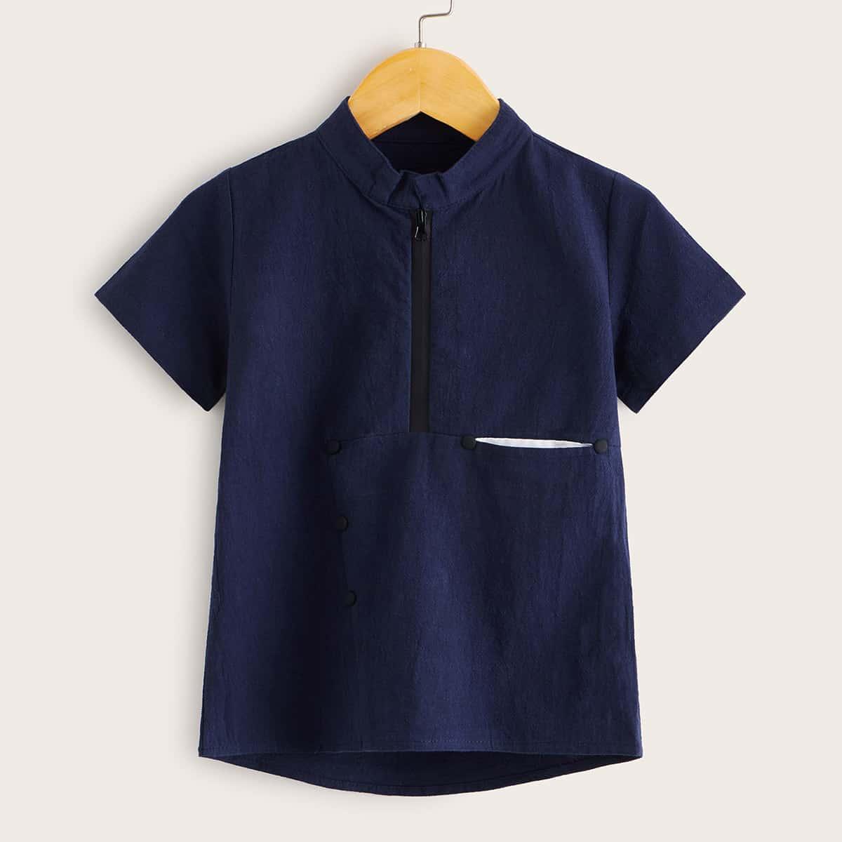 Асимметричная рубашка с молнией для мальчиков от SHEIN