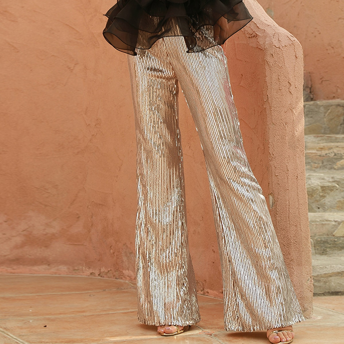 SHEIN / DKRX pantalones con lentejuelas de cintura alta